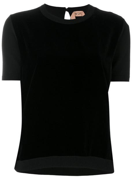 No21 t-shirt shirt t-shirt women black silk wool top