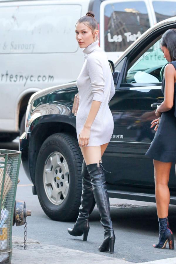 Dress Mini Dress Long Sleeve Dress Bella Hadid Boots