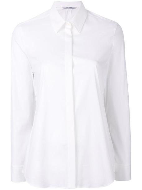 neil barrett shirt women classic spandex white cotton top