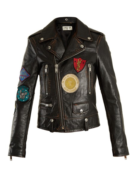 Saint Laurent jacket biker jacket embroidered fit leather black