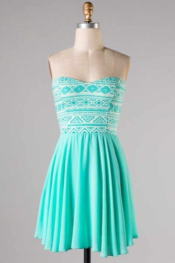 mint aztec dress mint aztec strapless dress strapless short dress dress turquoise dress tribal top
