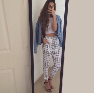 shirt pants plaid crop tops white black black and white