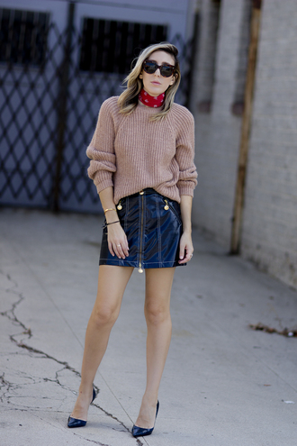 the fashion sight blogger mini skirt knitted sweater vinyl skirt sweater beige beige sweater scarf sunglasses pumps pointed toe pumps high heel pumps