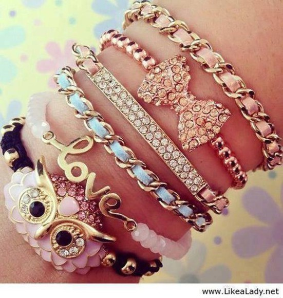 jewels owl bow blue bracelet pink chain love