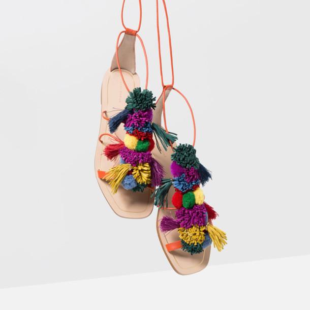 f6a24b9ae0a6da shoes pom poms sandals leather sandals colorful