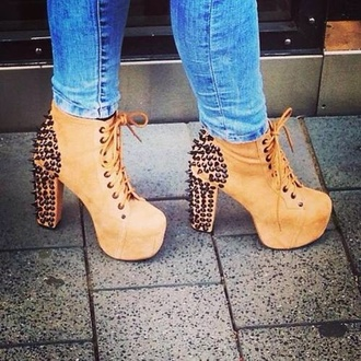 shoes high heels lita platform boot girly studs tan brown