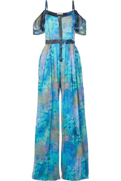 Matthew Williamson jumpsuit chiffon ocean cold silk turquoise