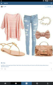 jeans,shirt,sweater,cute,cute outfits,bows,bow,hair accessory,bag,sandals,pink,blue,pretty,comfy,cozy,fall outfits,bracelets,shoes,home accessory,pajamas