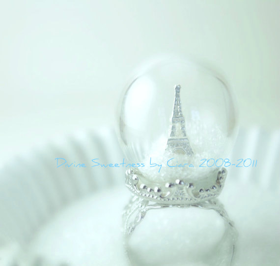 Winter in paris ring snow globe eiffel tower by divinesweetness