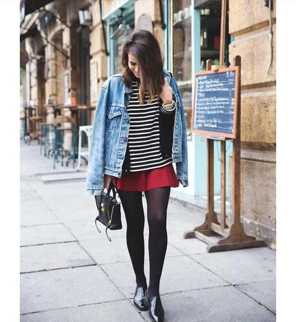 shirt stripes jacket jeans denim jacket red bag grunge vintage boho