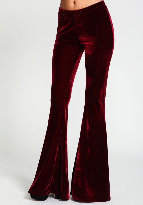 velvet velvet pants flare bell bottoms wide-leg pants fall outfits fall pants burgundy boho boho chic indie
