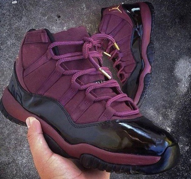 shoes, burgundy, sneakers, cute, jordans, women , Wheretoget