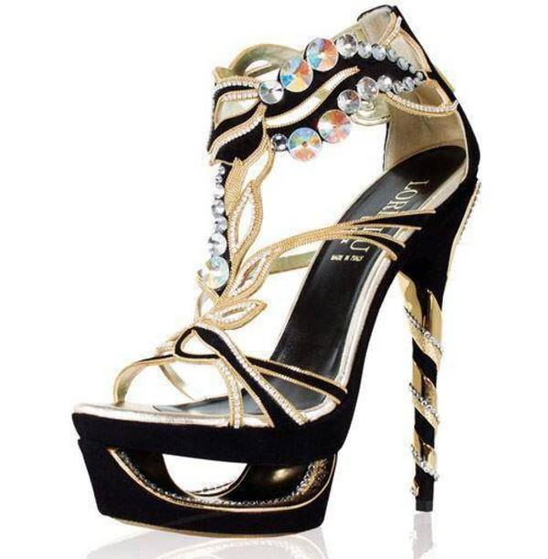 shoes chaussures talons hauts sandales high heels loriblu black gold