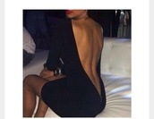 dress,black,open back,backless,midi dress