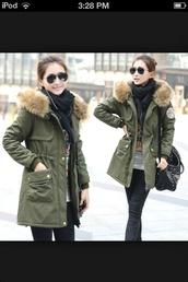 coat,hunter green,fur hood,fur-trim,winter coat