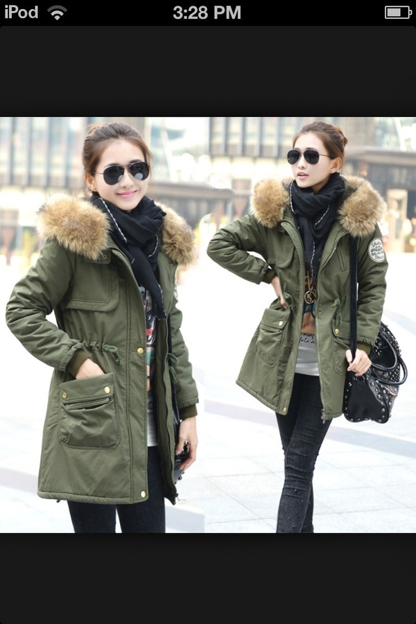 coat hunter green fur hood fur-trim winter coat