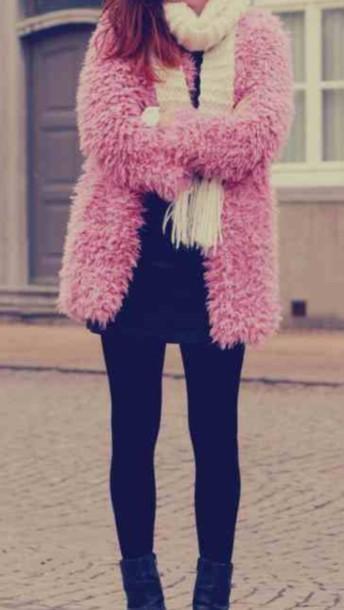 coat pink fluffy vintage coat