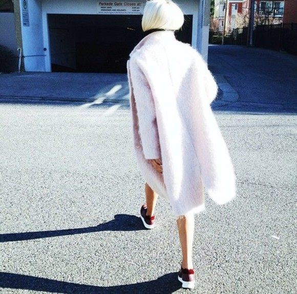 light pink fur coat