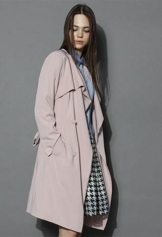 coat chicwish chicwish nude pink waterfall trench coat nude pink coat waterfall coat trench coat chicwish.com
