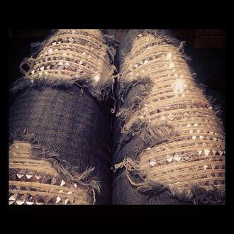jeans ripped studded sparkle