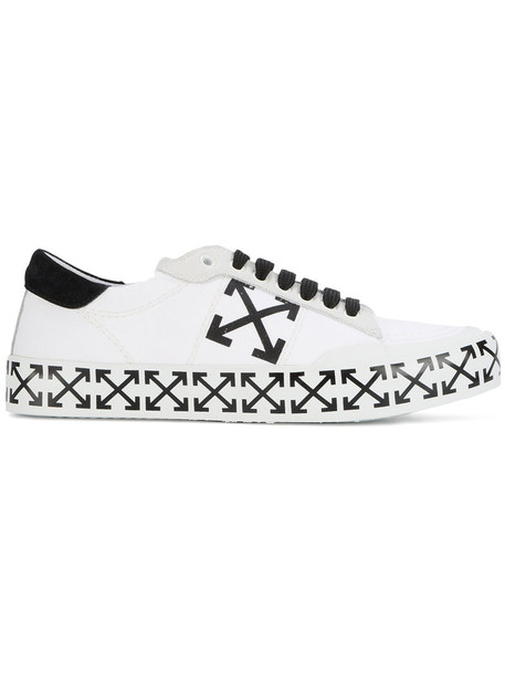 Off-White cross arrow women sneakers white cotton suede shoes