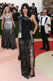 dress,gown,prom dress,asymmetrical dress,lace dress,black dress,slit dress,sandals,met gala,jamie bochert,model off-duty