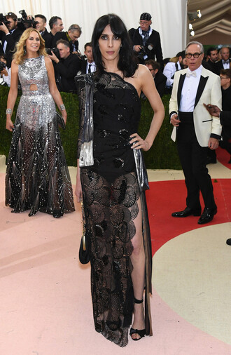 dress gown prom dress asymmetrical dress lace dress black dress slit dress sandals met gala jamie bochert model off-duty