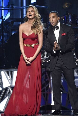dress gown billboard music awards red dress bustier dress chrissy teigen strapless