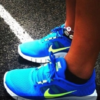 shoes blue bright yellow yellow neon neon yellow bright blue nike nike free run running shoes