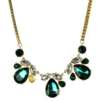 Women's Bib Necklace - Green/Gold : Target