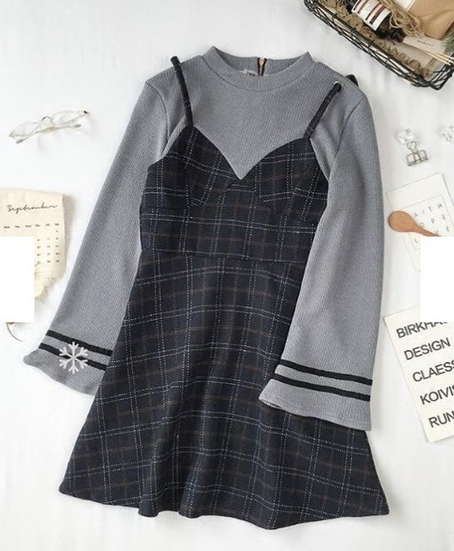 dress girly two in one plaid plaid dress sweater two-piece two piece dress set