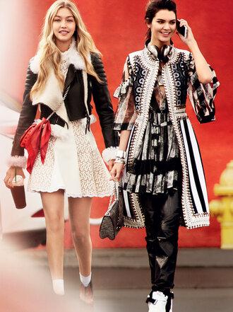 dress model editorial vogue kendall jenner gigi hadid white dress shearling jacket coat