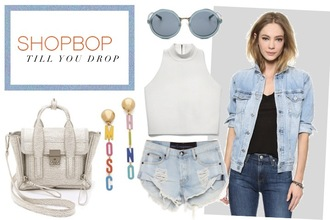 ohh couture blogger bag sunglasses jacket denim jacket sleeveless denim shorts moschino earrings