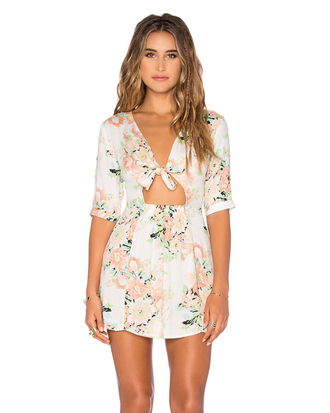 dress peach floral floral dress keyhole dress