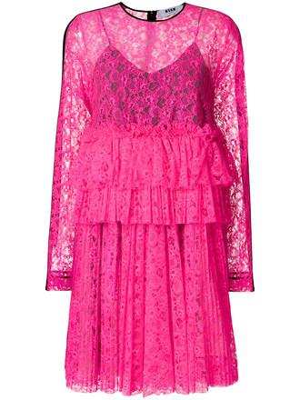 dress women floral purple pink