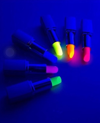 make-up green blue yellow gitd orange neon neon orange neon pink lipstick purple lipstick pink lipstick glow in the dark neon yellow summer accessories