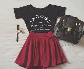 skirt bag shirt marc jacobs red skirt t-shirt black girl marc jacob hipster boho beautiful love top jacobs underwear