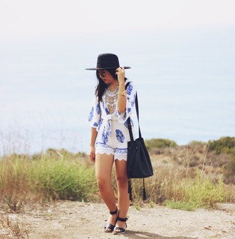 runaway in la blogger romper hat blue and white sandals