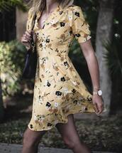 dress,tumblr,mini dress,yellow,yellow dress,floral,floral dress,v neck,necklace,horn necklace,watch,gold watch,jewels