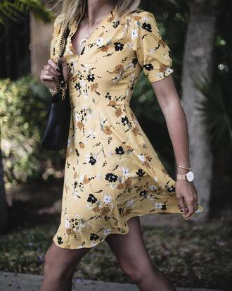 dress tumblr mini dress yellow yellow dress floral floral dress v neck necklace horn necklace watch gold watch jewels