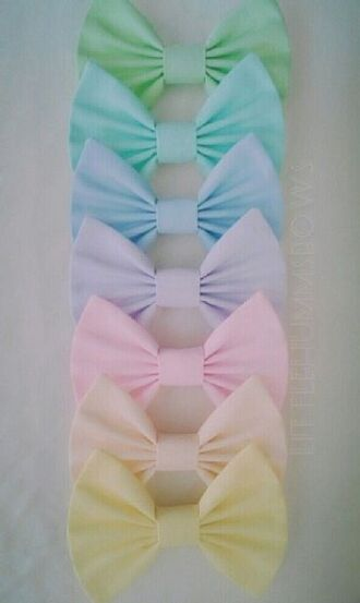hair accessory bows pastel yellow pink purple blue green rainbow colorful