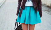 skirt,skater skirt,torquioise,clothes,blue,teal,summer,spring,pretty,fashion,style