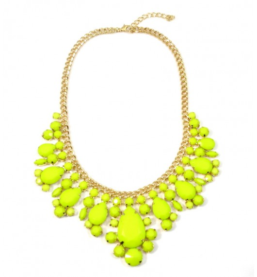 Neon Yellow Teardrop Gemstone Bib Necklace