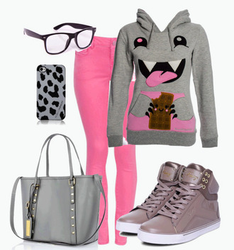 sweater outfit skinny jeans pink hoody gray shoes high tops purse gold phone cover monster nerd nerd glasses glasses black sunglasses