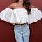 White off shoulder ruffle chic crop top