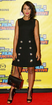 dress,kerry washington,purse,sandals,shoes
