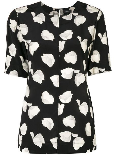Theory - floral print blouse - women - Silk - M, Black, Silk