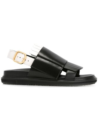 hair women sandals leather black shoes