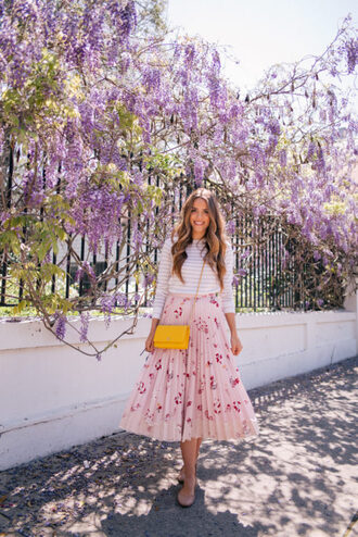 gal meets glam blogger sweater skirt bag pleated skirt pink skirt yellow bag ballet flats spring outfits