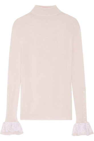 sweater turtleneck turtleneck sweater chiffon lace silk wool pastel pink pastel pink